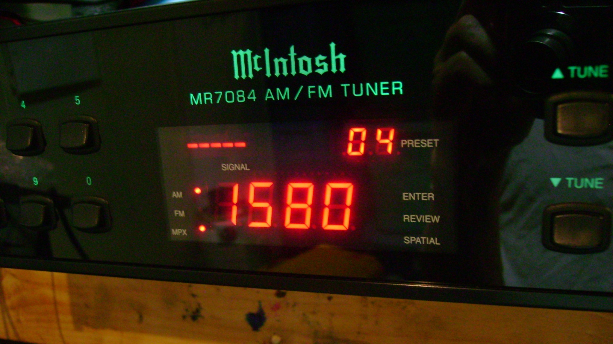 McIntosh front panel with white LED
